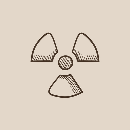 ionizing radiation risk: Ionizing radiation sign sketch icon for web, mobile and infographics. Hand drawn vector isolated icon.