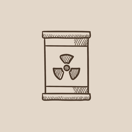 radioactive tank and warning sign: Barrel with ionizing radiation sign sketch icon for web, mobile and infographics. Hand drawn vector isolated icon.