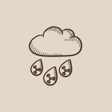 nuclear disaster: Radioactive cloud and rain sketch icon for web, mobile and infographics. Hand drawn vector isolated icon.