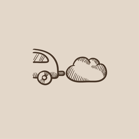 spewing: Car spewing polluting exhaust sketch icon for web, mobile and infographics. Hand drawn vector isolated icon.
