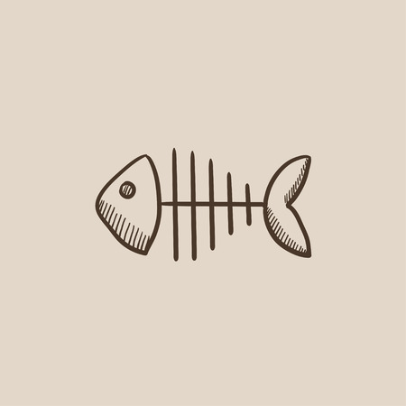 Fish skeleton sketch icon for web, mobile and infographics. Hand drawn vector isolated icon. Ilustracja