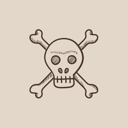 cross bones: Skull and cross bones sketch icon for web, mobile and infographics. Hand drawn vector isolated icon.