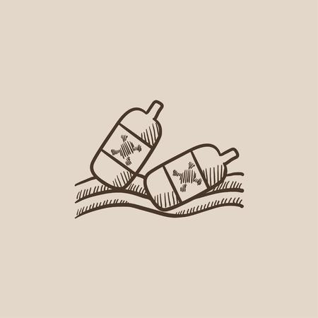水に浮かんでいるボトルは、web、モバイルのアイコンとインフォ グラフィックをスケッチします。手には、ベクトル分離アイコンが描画されます。
