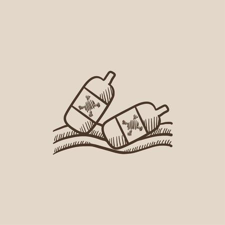 trash danger: Bottles floating in the water sketch icon for web, mobile and infographics. Hand drawn vector isolated icon.