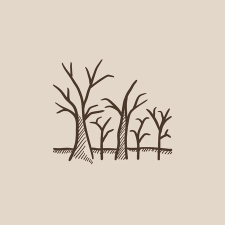 nude outdoors: Tree with bare branches sketch icon for web, mobile and infographics. Hand drawn vector isolated icon.