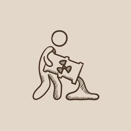 A man pouring the liquid from the barrel with ionizing radiation sign sketch icon for web, mobile and infographics. Hand drawn vector isolated icon.