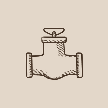 Gas pipe valve sketch icon for web, mobile and infographics. Hand drawn vector isolated icon. Stock Illustratie