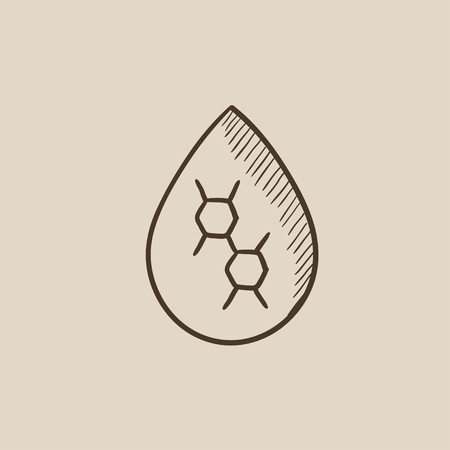 Oil drop sketch icon for web, mobile and infographics. Hand drawn vector isolated icon.