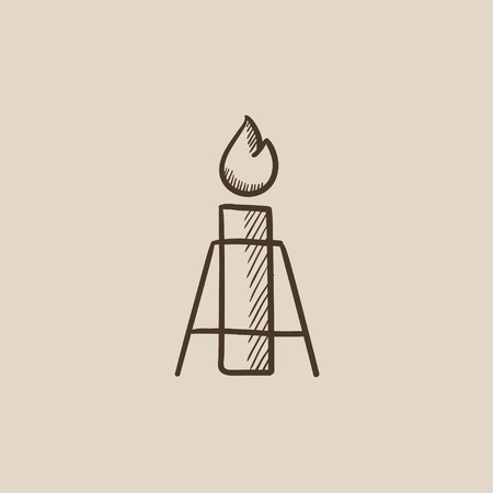 flue: Gas flare sketch icon for web, mobile and infographics. Hand drawn vector isolated icon.