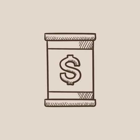 Barrel with dollar symbol sketch icon for web, mobile and infographics. Hand drawn vector isolated icon. 向量圖像