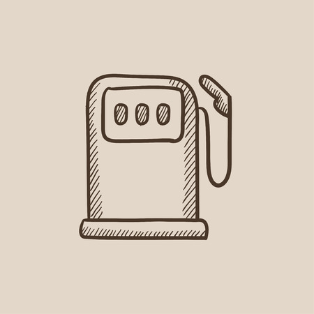 fillup: Gas station sketch icon for web, mobile and infographics. Hand drawn vector isolated icon.