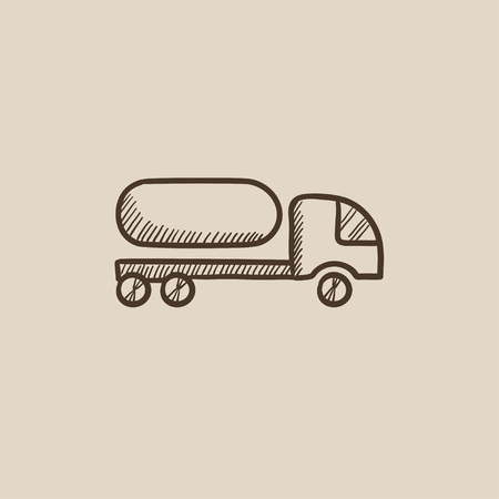 trucker: Fuel truck sketch icon for web, mobile and infographics. Hand drawn vector isolated icon. Illustration