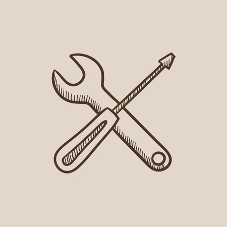 Screwdriver and wrench tools sketch icon for web, mobile and infographics. Hand drawn vector isolated icon.