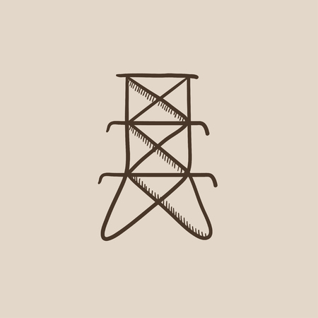 powerlines: Electric tower sketch icon for web, mobile and infographics. Hand drawn vector isolated icon.