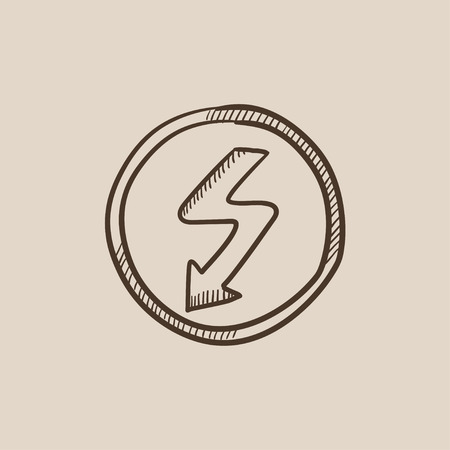 lightning arrow: Lightning arrow going down inside circle sketch icon for web, mobile and infographics. Hand drawn vector isolated icon. Illustration