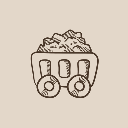 Mining coal cart sketch icon for web, mobile and infographics. Hand drawn vector isolated icon.