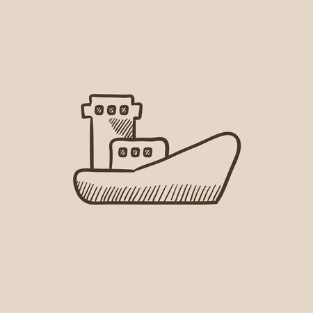 loading dock: Cargo container ship sketch icon for web, mobile and infographics. Hand drawn vector isolated icon.