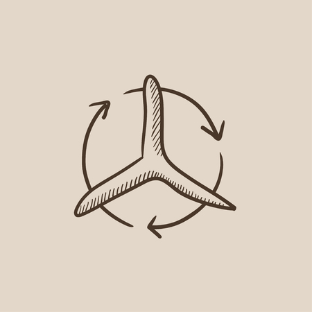 Windmill with arrows sketch icon for web, mobile and infographics. Hand drawn vector isolated icon. Ilustrace