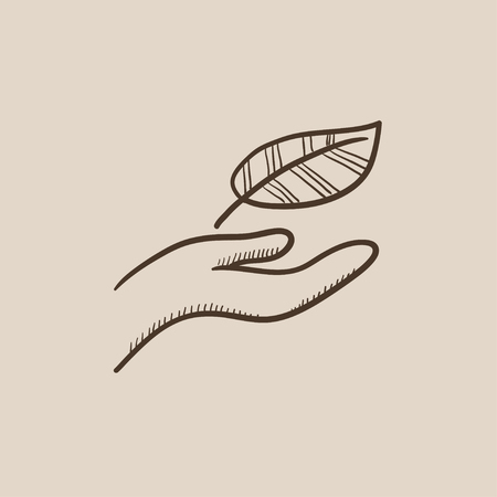 Hand holding a leaf sketch icon for web, mobile and infographics. Hand drawn vector isolated icon.