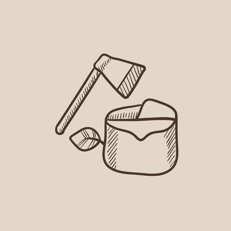 logging: Deforestation sketch icon for web, mobile and infographics. Hand drawn vector isolated icon.