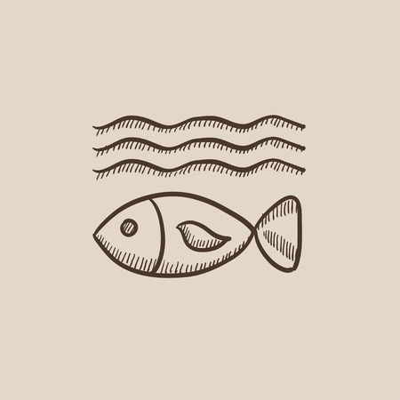 deterioration: Fish under water sketch icon for web, mobile and infographics. Hand drawn vector isolated icon.