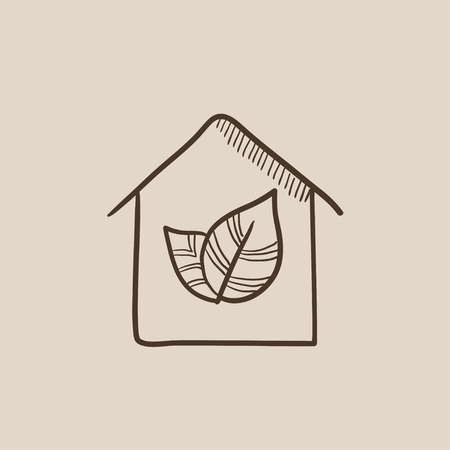 Eco-friendly house sketch icon for web, mobile and infographics. Hand drawn vector isolated icon.