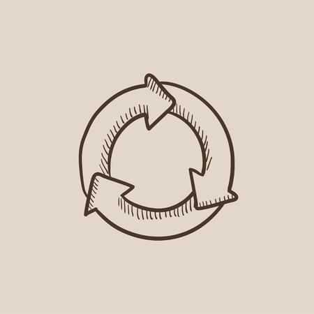 arrows circle: Arrows circle sketch icon for web, mobile and infographics. Hand drawn vector isolated icon. Illustration