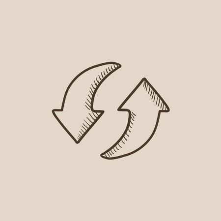 circular arrows: Two circular arrows sketch icon for web, mobile and infographics. Hand drawn vector isolated icon.