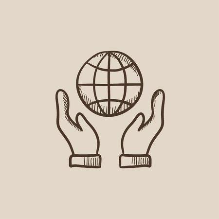 hands holding globe: Two hands holding globe sketch icon for web, mobile and infographics. Hand drawn vector isolated icon.