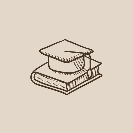 master degree: Graduation cap laying on book sketch icon for web, mobile and infographics. Hand drawn vector isolated icon.