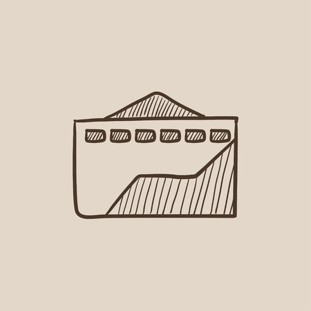 ecological damage: Factory sketch icon for web, mobile and infographics. Hand drawn vector isolated icon.