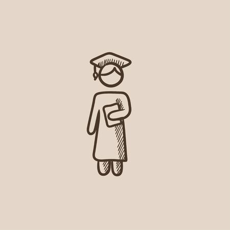 Graduate sketch icon for web, mobile and infographics. Hand drawn vector isolated icon. Ilustração