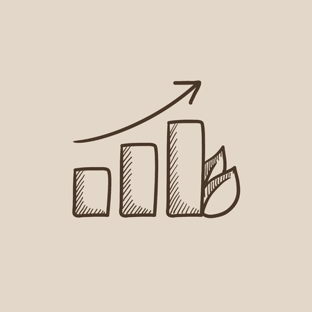 Bar graph with leaf sketch icon for web, mobile and infographics. Hand drawn vector isolated icon.