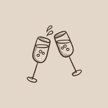 Two glasses of champaign sketch icon for web, mobile and infographics. Hand drawn vector isolated icon.