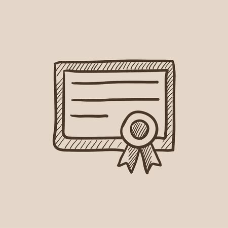 school bills: Certificate sketch icon for web, mobile and infographics. Hand drawn vector isolated icon.