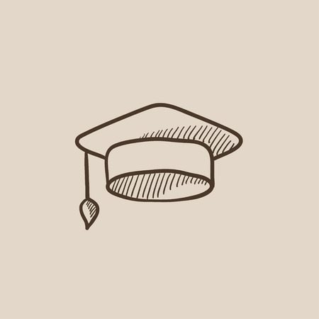 Graduation cap sketch icon for web, mobile and infographics. Hand drawn vector isolated icon. Ilustração