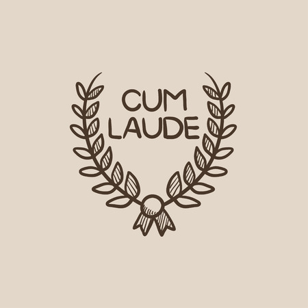 Laurel wreath sketch icon for web, mobile and infographics. Hand drawn vector isolated icon.