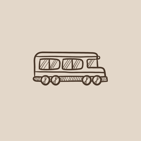 schoolbus: School bus sketch icon for web, mobile and infographics. Hand drawn vector isolated icon.