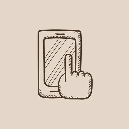 smart phone hand: Finger pointing at smart phone sketch icon for web, mobile and infographics. Hand drawn vector isolated icon.