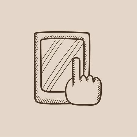 Finger pointing at tablet sketch icon for web, mobile and infographics. Hand drawn vector isolated icon.