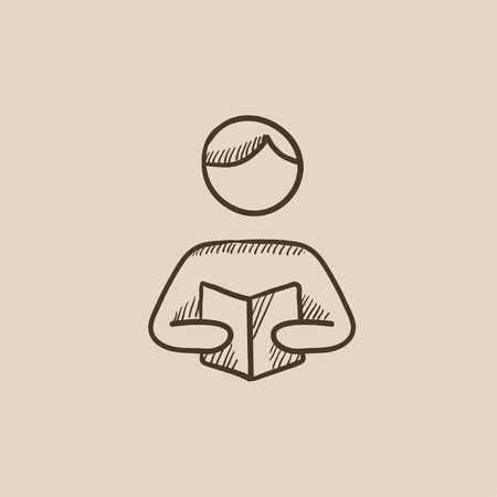 classbook: Man reading a book sketch icon for web, mobile and infographics. Hand drawn vector isolated icon. Illustration