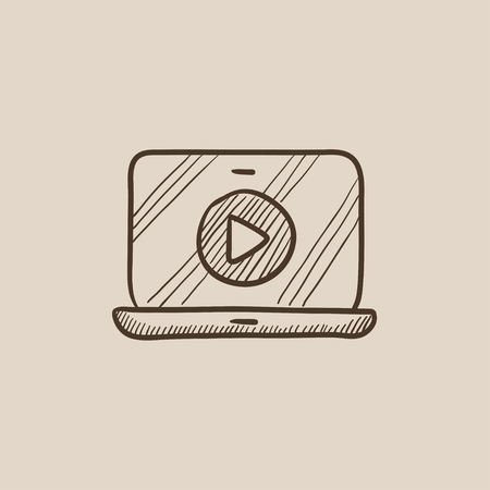 laptop screen: Laptop with play button on a screen sketch icon for web, mobile and infographics. Hand drawn vector isolated icon.