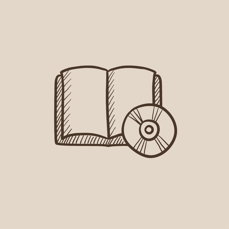 audiobook: Audiobook and cd disc sketch icon for web, mobile and infographics. Hand drawn vector isolated icon. Illustration