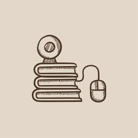 elearn: Computer mouse connected to a stack of books with webcam on it sketch icon for web, mobile and infographics. Hand drawn vector isolated icon. Illustration
