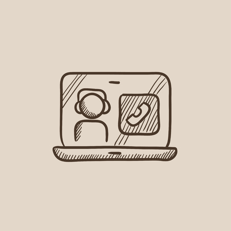 reciever: Laptop with a man in headphones on a screen sketch icon for web, mobile and infographics. Hand drawn vector isolated icon.