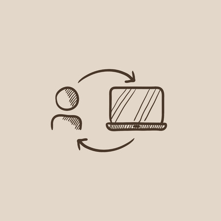 linking: Arrows linking man and laptop sketch icon for web, mobile and infographics. Hand drawn vector isolated icon. Illustration