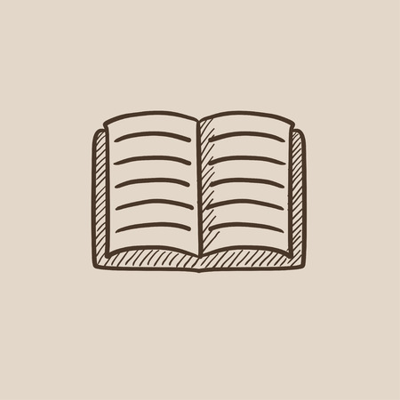 classbook: Open book sketch icon for web, mobile and infographics. Hand drawn vector isolated icon.
