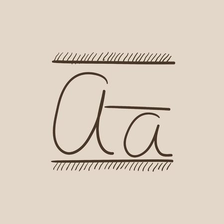 cursive: Cursive letter a sketch icon for web, mobile and infographics. Hand drawn vector isolated icon.