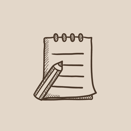 writing pad: Writing pad and pen sketch icon for web, mobile and infographics. Hand drawn vector isolated icon. Illustration