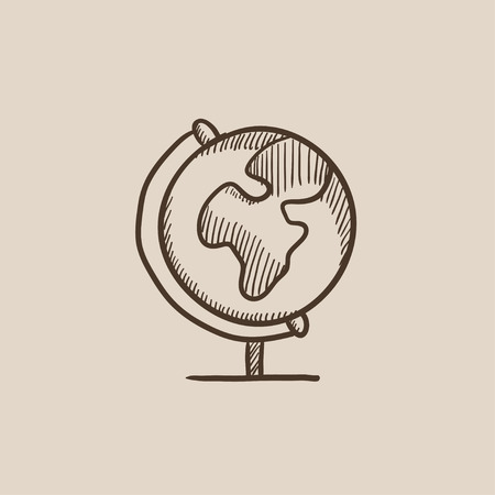 hand stand: World globe on stand sketch icon for web, mobile and infographics. Hand drawn vector isolated icon.
